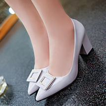 pp283 elegant pointy pump w a squre top, US Size 5-9, light gray - $42.80