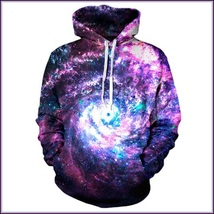 Spinning Galaxy Painted Universe Long Sleeve Cotton Pullover Hoodie Swea... - $82.95