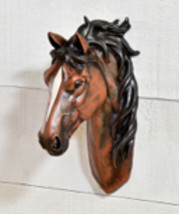 "10"" Brown & White Horse Head Mount Wall Decor Polyresin NEW"
