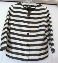 Talbots Woven Blend Striped Jacket Coat Shorter Sleeve Navy Cream 12 NWT... - $39.94