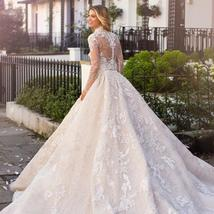 New Top Celeb Luxury A-Line Princess Ball Gown Long Sleeve Lace Appliques High D image 3
