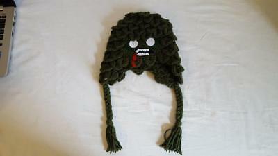 "HAND CROCHETED GREEN MONSTER CHILD HAT, SWAMP THING, ZOMBI, ACRYLIC, 18""HEAD, 7"""