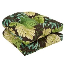 Pillow Perfect Indoor/Outdoor Brown/Green Tropical Wicker Seat Cushions, 19-Inch - $47.07