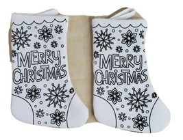 "Set of 2 Tiny Small Christmas Stocking Bag 7"" tall x 3"" wide White Black... - $14.69"