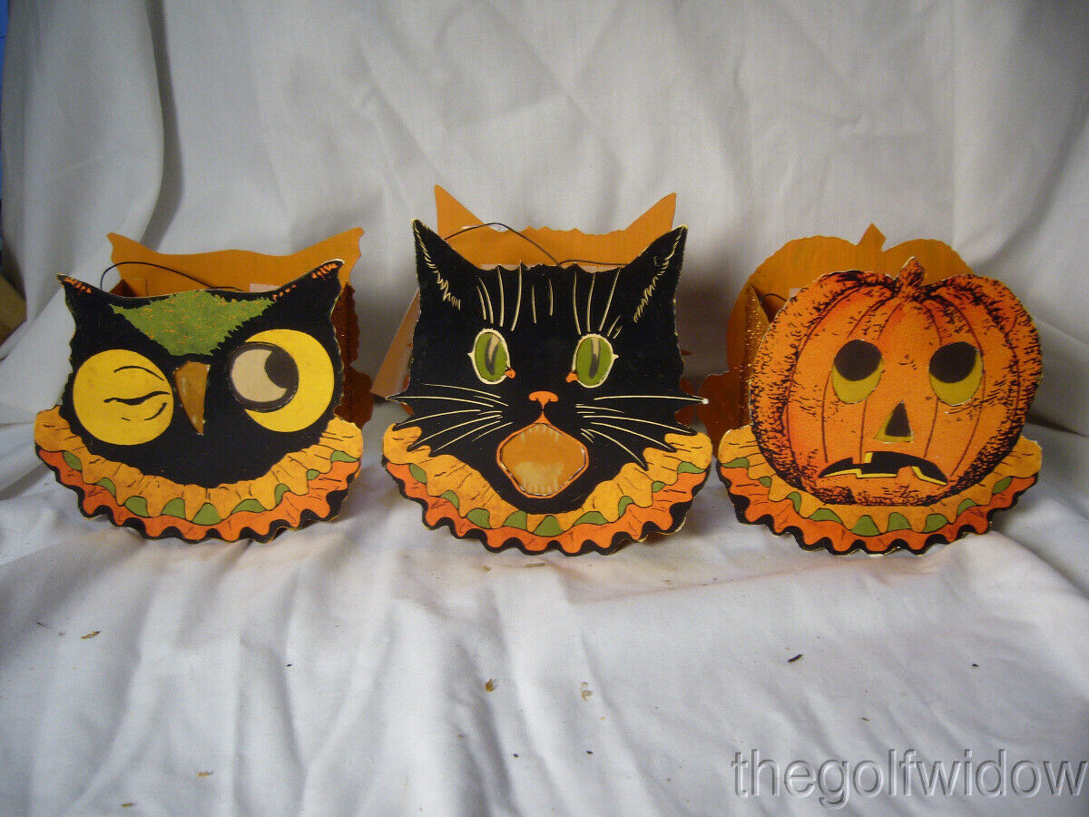 Bethany Lowe Halloween Sassy Cat, Owl and Pumpkin Small Buckets no. LC3671