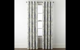 (1) JC Penney Sullivan Blue Floral Blooms Blackout Grommet Curtain Panel... - $56.09