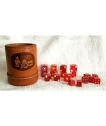 Vintage Leather Dice Cup DEL PASO MAGPIE 1982 With Assorted Red Dice CAS... - $75.00