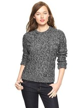 GAP Women's Cable Metallic Sweater Acrylic Wool Charcoal Heather, M, Pre-owned - $16.14
