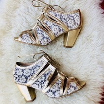 KLUB NICO Anthropologie Metallic Gold Lace Strappy Peep Toe Heels Brazil... - $51.43
