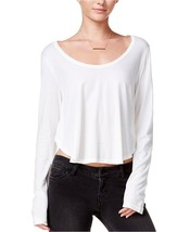 Chelsea Sky Women's Long Sleeve Asymmetrical Crop Top Small S Off-White $48 - $11.64