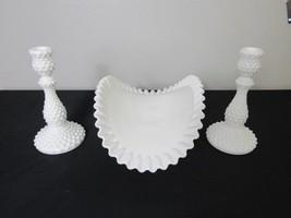 Pair of White Hobnail Candlesticks Fruit Banana Folded Pedestal Bowl Boa... - $70.13