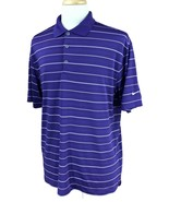 Nike Golf Men's Dri-Fit Short Sleeve Polo Purple White Stripe Shirt Large - $20.78