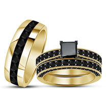 Princess Cut Black Diamond Mens Womens Trio Ring Set 14k Gold Finish 925... - $153.99