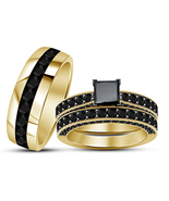 Princess Cut Black Diamond Mens Womens Trio Ring Set 14k Gold Finish 925... - £94.95 GBP