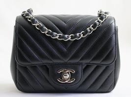 CHANEL Black CAVIAR Leather Square MINI CHEVRON Flap Bag AUTHENTICATED - $3,299.42