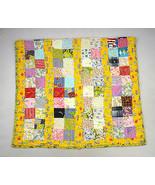 Vtg Multi Color Checkered Squares Cotton Tassel Patchwork Quilt Blanket ... - $38.60