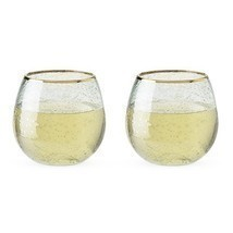 Stemless Wine Glasses, Gold Rim Bubble Clear Insulated Wine Glasses, Set... - £25.55 GBP