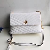 TORY BURCH KIRA CHEVRON FLAP SHOULDER BAG White Auhentic - $339.00