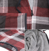 Men's Casual Flannel Zip Up Fleece Lined Plaid Sherpa Hoodie Lightweight Jacket image 4