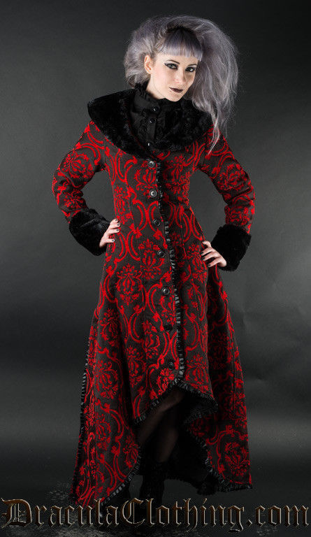 Women's Red & Black Brocade Gothic Victorian Fall Winter Long Steampunk Coat