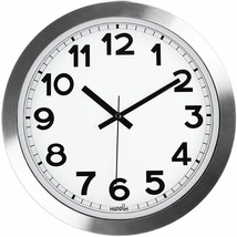 "Silver Sheen Aluminum 12"" Wall Round Wall Clock, Silent Non-Ticking, Qua... - $21.67"