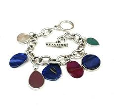 Kenneth Cole Reaction Womens Silver Tone Metallic Enamel Charm Bracelet - $11.29
