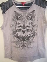 Ladies/Juniors Bongo Faux Leather shoulders skull & guitar Design Shirt ... - $11.99
