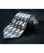 Silk Tie Orange Blue Black Weave Pattern Covington Mens - $13.50