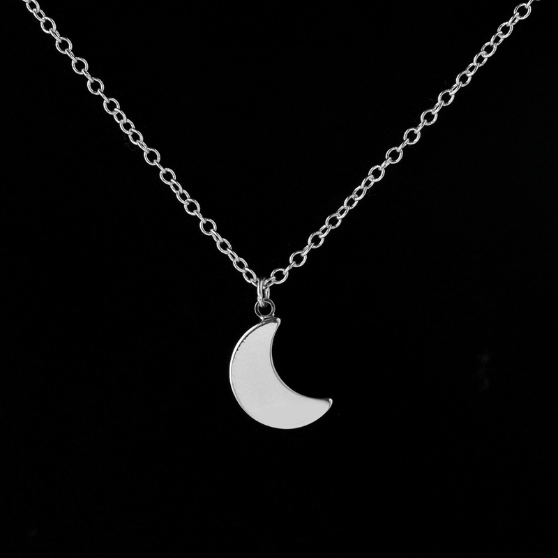 Tiny Crescent Moon Necklace Women Silver Gold Accessories Collares Moon Phase