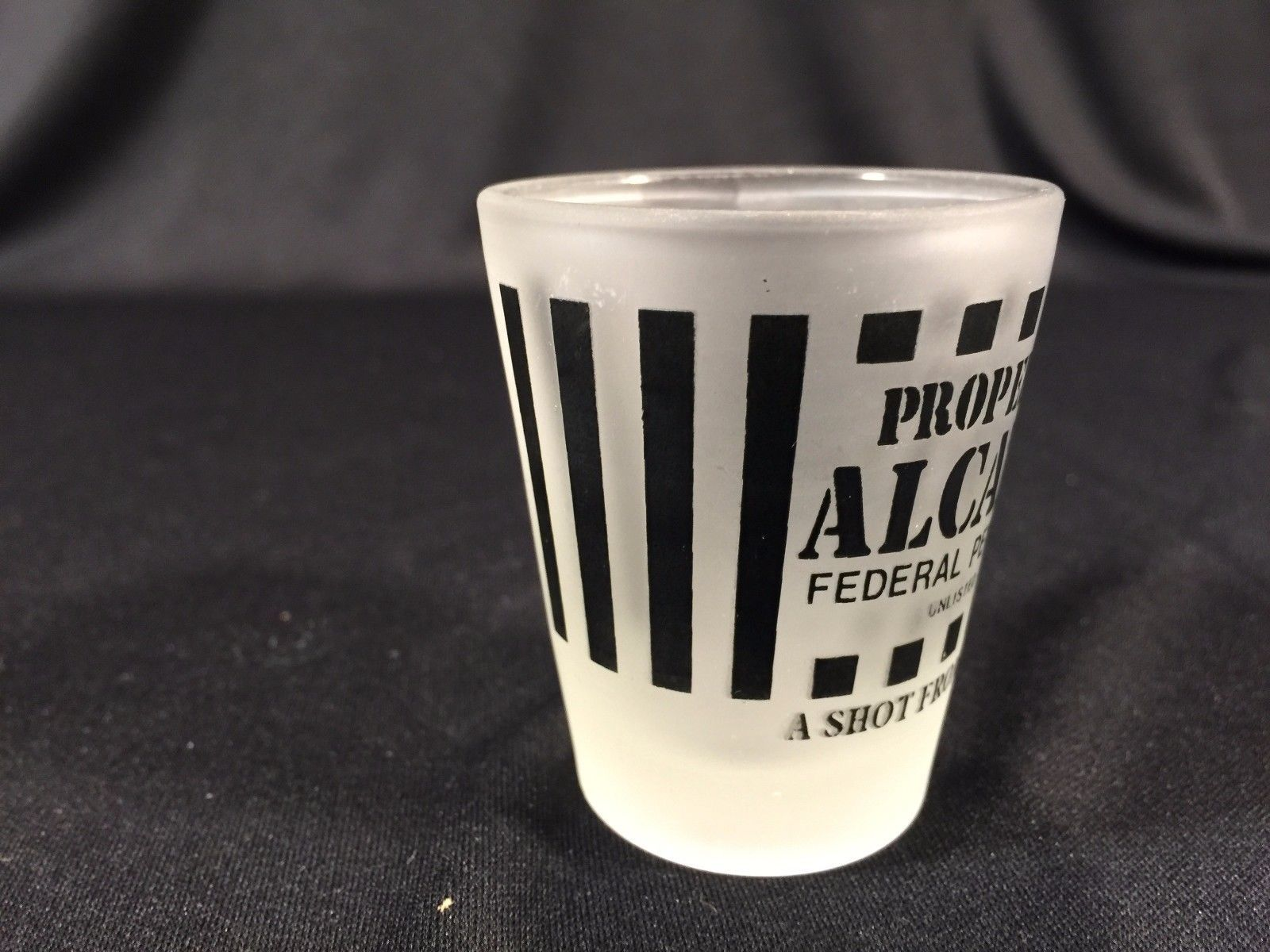 """Vintage Property Of Alcatraz The Rock Collectible Shot Glass 2-1/4"""""""