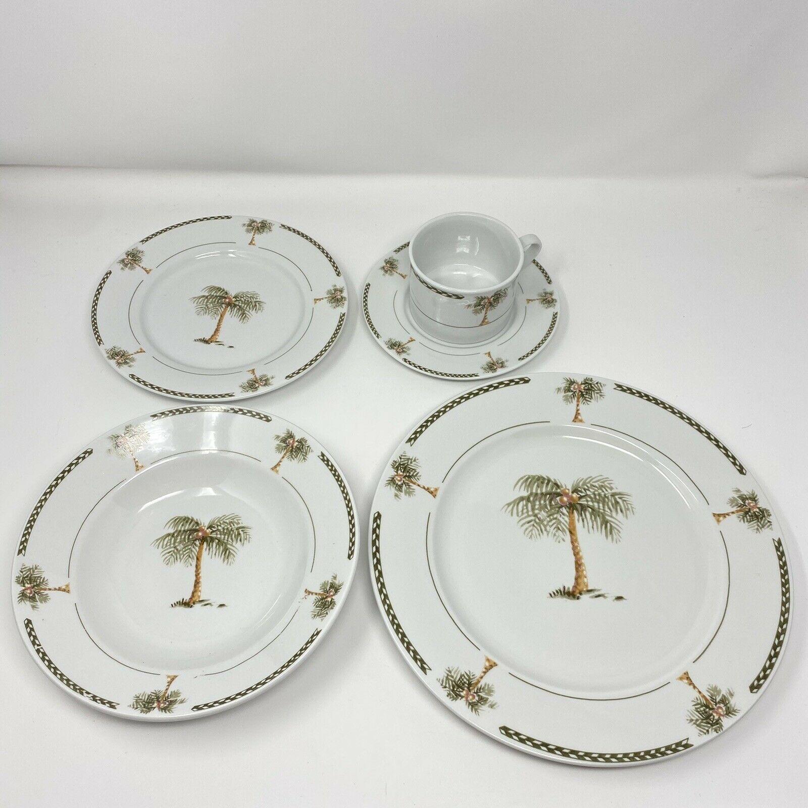 Gibson BAHAMA Dinner Plate Dessert Plate Salad Bowl Cup Saucer Palm Coconut Tree - $26.72