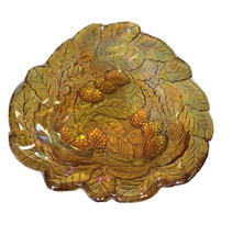 Vintage Indiana Carnival Glass Candy Dish Loganberry Leaves Amber Marigold - $25.00