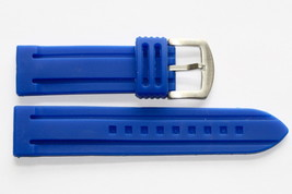 22MM BLUE SOFT SILICON RUBBER MENS SPORT DIVER WATCH BAND STRAP FITS FOSSIL - $14.69