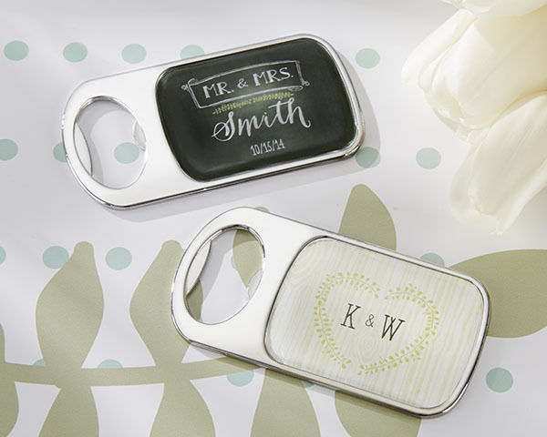 Primary image for Personalized Chalk or Woodgrain Epoxy Metal Bottle Opener Bridal Wedding Favor