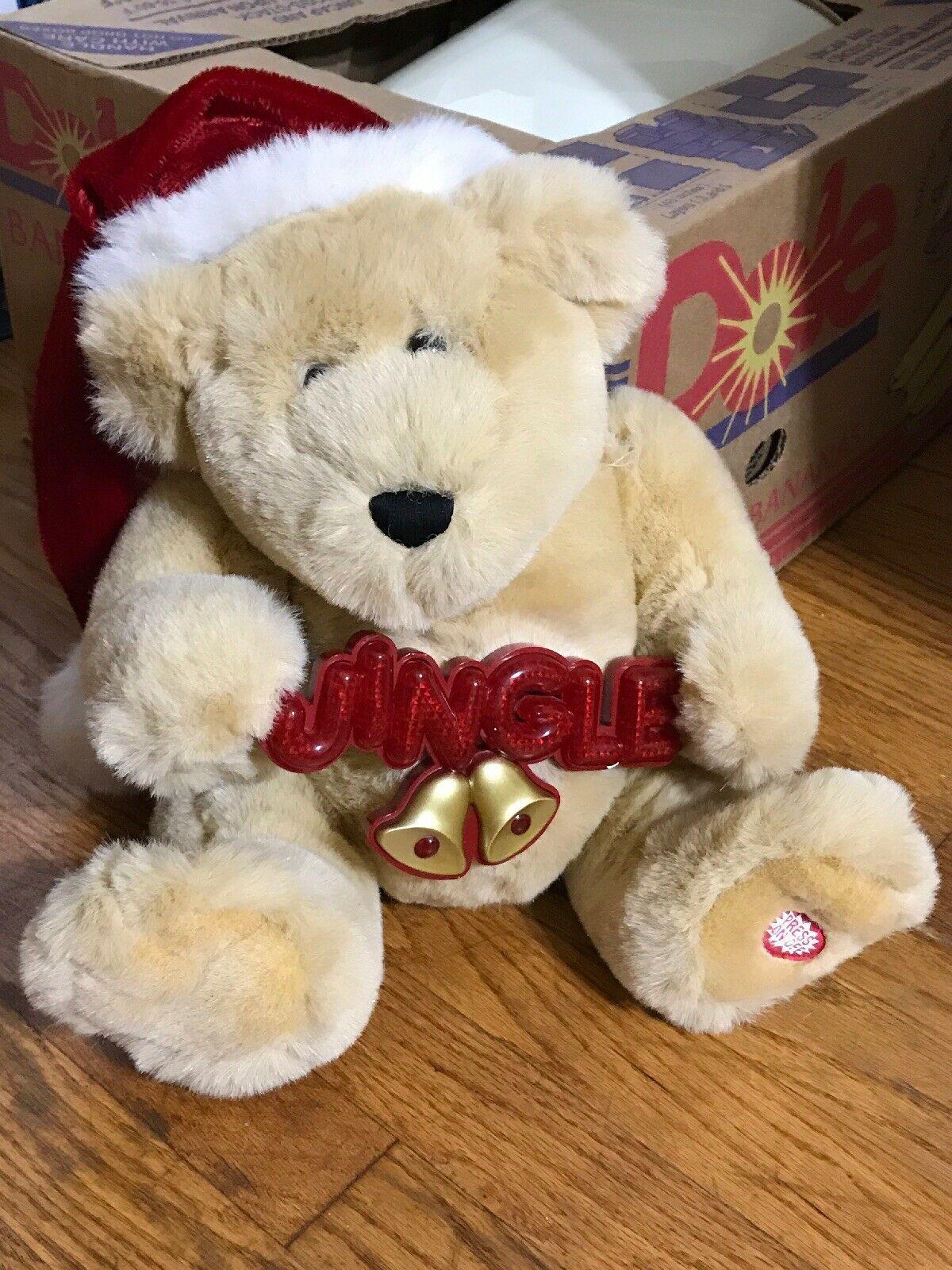 Vintage Jingle Bells Lighted Musical Christmas Bear by Dan Dee 16in C1990s AA28 - $48.37