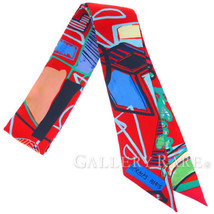 Hermes Scarf Twilly Modernisme Tropical Silk Twill France Authentic 3969298 - £158.15 GBP