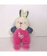 """Baby Starters Bunny Rabbit Pink Sweet Rattle Soft Toy 10"""" Blue Stripes P... - $28.93"""