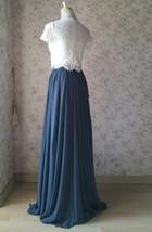 DUSTY BLUE Split Maxi Skirt Dusty Blue Bridesmaid Maxi Chiffon Skirt image 4