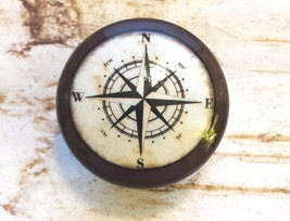 4 Handmade Nautical Knobs, Espresso Brown Drawer Pulls, Antique Style Compass - $23.76