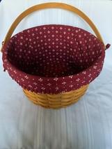 Longaberger 2000 Large Fruit Basket Red Heritage Fabric Liner and Swing Handle - $37.40