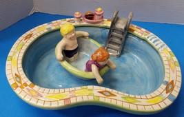 2 Piece Novelty Ceramic Chip N Dip Serving Set Bowl Tray Swimming Pool H... - €42,75 EUR