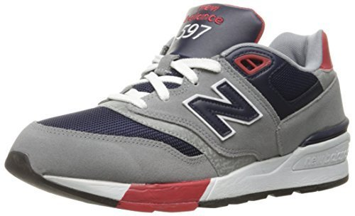New Balance Men's ML597Modern Classics Fashion Sneaker, Grey/Blue/Black/Red, 7.5