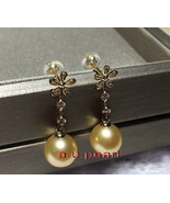 Top real 18K diamond GOLD 12-13MM SOUTH SEA round golden PEARL Dangle EA... - $860.95