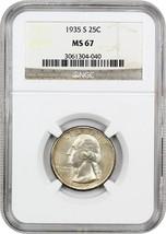 1935-S 25c NGC MS67 - Washington Quarter - $863.30