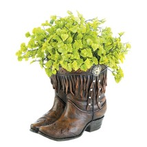 Fringed Cowboy Boot Planter with Western Medallion - $33.90