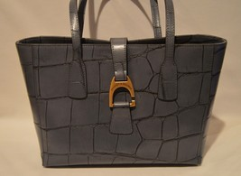 Dooney & Bourke Small Shannon Tote Bag Embossed Croc Leather Steel Blue NWT - $133.65