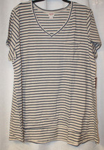New Womens Plus Size 4X Mossimo Oatmeal & Blue Striped Shirt With V-NECK - $17.41