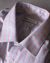 Men's Long Sleeve Casual Dress Shirt Size 17 - 32 33 Van Heusen Pink Gray - $12.86
