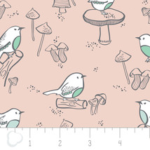 Little Bird Double Gauze Birds Pink Swaddling 100% Cotton fabric by the ... - $9.79