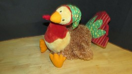 Gund plush Turkey green calico hat & tail feathers red striped toy or decor - $9.89